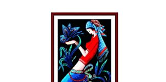 Minority Girl Beauty Painting Black Cloth Unprinted Counted On Canvas 14CT Cross Stitch Kits
